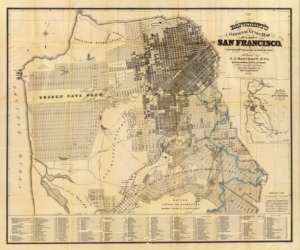 Screen shot of a map of San Francisco.  This shows San Francisco as it was prior to the 1906 earthquake.  This was the San Francisco that Bill's grandmother was born in.